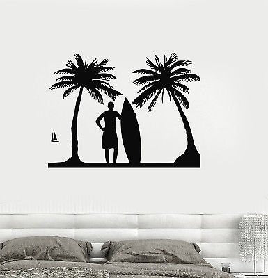 Vinyl Decal Surf Relax Beach Vacations Surfing Palm Wall Stickers 518