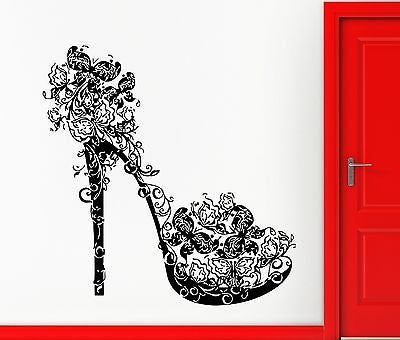 High Heel Shoe Butterflies Swirls Flower Fashion Wall Sticker Vinyl Decor 385