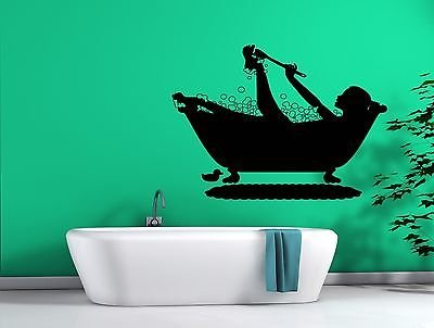 Wall Sticker Vinyl Decal Girl Bath Water Bubbles Duck Sponge Brush Soap n081