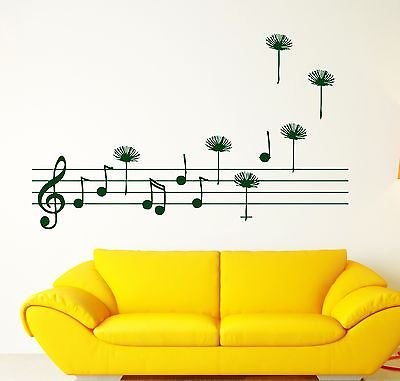 Wall Sticker Stave Score Notes Treble Clef Fly Vinyl Decal n340