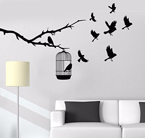 Vinyl Wall Decal Tree Branch Cage Birds Nature Stickers 762