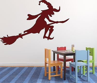 Wall Sticker Fabulous Hero Witch on a Broomstick Sabbat Vinyl Decal n504