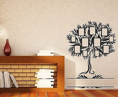 Wall Sticker Family Genealogical Tree with Frames for Photos Vinyl Decal n374