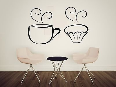 Wall Sticker Vinyl Decal Tea Cup Delicious Sweet Cupcakes Decorative n408