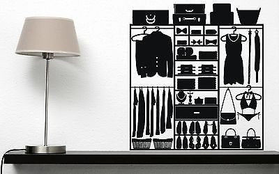 Wall Stickers Luggage Storage Closet Clothes Handbags Shoes Vinyl Decal n339