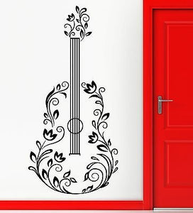 Wall Sticker Vinyl Decal Music Guitar Made Off Flower Romantic Song z1110