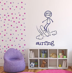 Wall Sticker Vinyl Decal Skating on The Board on Water Surfing n462