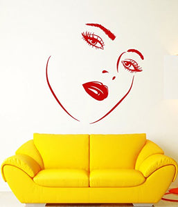 Vinyl Wall Decal Girl Face Woman Makeup Sexy Lips Eyelashes Stickers 2506