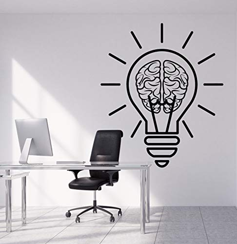Vinyl Wall Decal Bulb Idea Brain Motivation Decor for Office Stickers 1953
