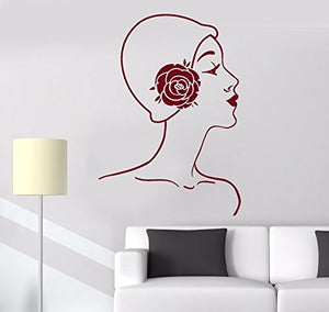 Vinyl Wall Decal Mademoiselle Retro Woman Lady Cloche Hat Stickers 781