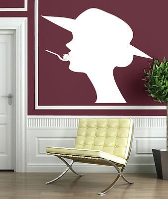 Wall Sticker Beautiful Lady Hat Silhouette Strawberry Flavor Vinyl Decal n318