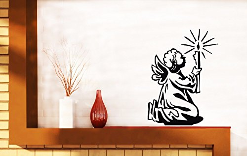 Vinyl Decal Little Angel with Candle Prayer Wall Sticker n615