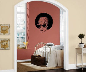 African Beauty Sexy Black Girl Sunglasses Decor Wall Mural Vinyl Sticker M297