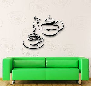 Wall Stickers Vinyl Decal Kitchen Tea Coffee Kettle Cup Restaurant 648