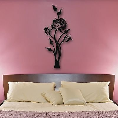 Wall Stickers Vinyl Decal Rose Flower Plant Decor for Bedroom 672