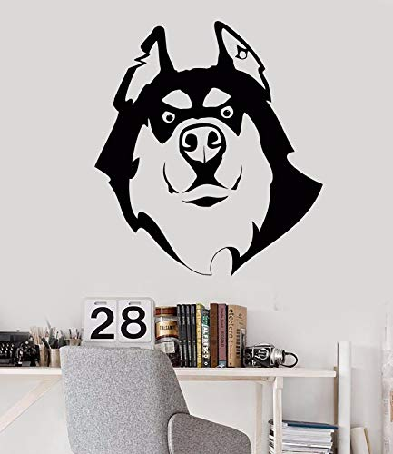 Vinyl Wall Decal Dog Husky Friend Pet Shop Animal Head Stickers 725