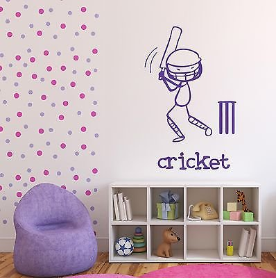Wall Sticker English Sports Team Bit Cricket Ball Vinyl Decal n461