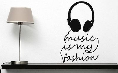 Wall Sticker Vinyl Decal Title Music is My Fashion Headphones n182