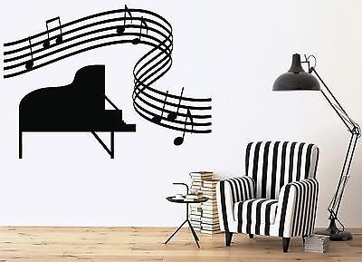 Large Vinyl Wall Sticker Music Room Piano Sheet Music Score n166