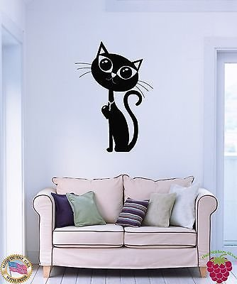 Wall Sticker Cat Kitty Black Pet Animal Cool Decor for Bedroom z1599