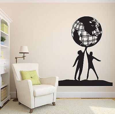 Wall Vinyl Sticker Decal People World Friendship Earth Globe Planet Peace n022