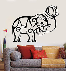 Vinyl Wall Decal India Elephant Lotus Religion Buddhism Stickers 1020