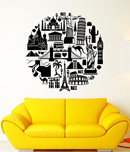 Vinyl Wall Decal Travel Tourism Tourist Sights World Stickers 1692