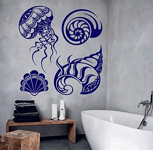 Vinyl Wall Decal Shells Marine Style Bathroom Design Jellyfish Stickers 787