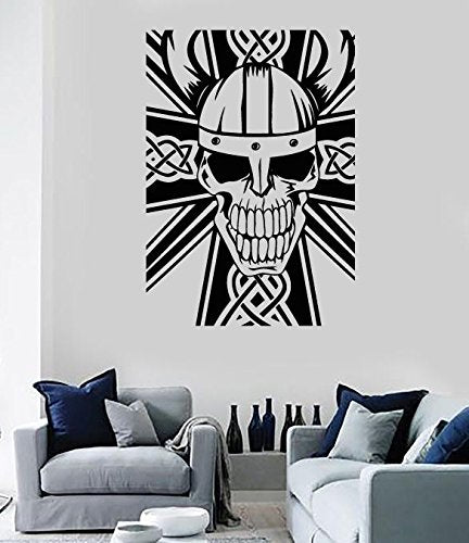 Vinyl Decal Wall Sticker Celtic Cross and Skull Decor n802