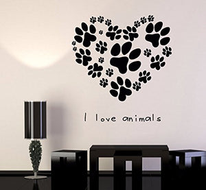 Vinyl Wall Decal Pets Veterinary Clinic Animal Love Dog Paw Cat Stickers 666