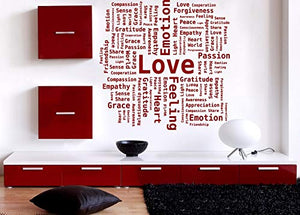 Vinyl Decal Wall Sticker Word Cloud Love Passion Heart Gratefulness n656
