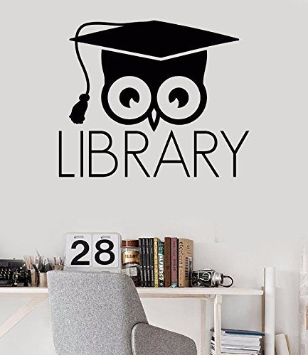 Vinyl Wall Decal Library Books Bookworm Academic Owl Scientific Stickers 320