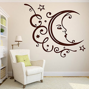 Wall Vinyl Sticker Decal Sleeping Moon Stars Clouds Relaxation Vacation n211