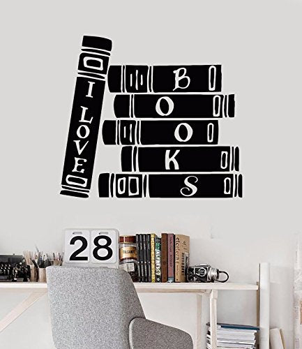 Vinyl Wall Decal Book Store Library Reader Books Bibliophile Stickers 1050