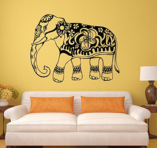 Vinyl Wall Decal India Elephant Animal Ornament Stickers Mural 150