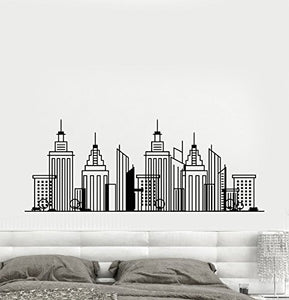 Vinyl Wall Decal Big Cartoon City Building Town Stickers 1562
