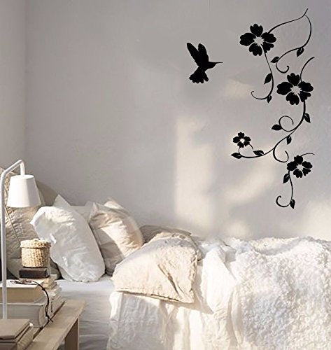 Vinyl Wall Decal Hummingbird Nature Bird Flying Flowers Sticker 656