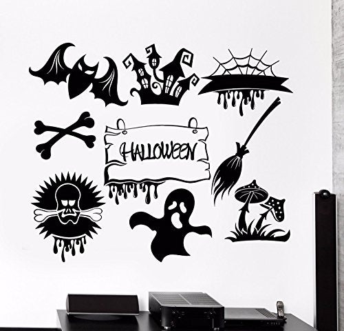 Vinyl Wall Decal Halloween Feast Horror Monsters Ghosts Stickers 747