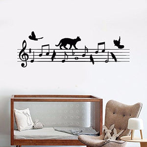 Vinyl Wall Decal Notes Music School Bird Cat Nursery Stickers 1035