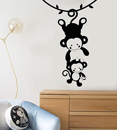 Vinyl Wall Decal Funny Monkey Family Zoo Animals Nursery Decor Stickers 1211