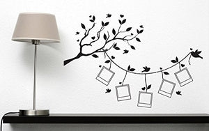 Wall Vinyl Sticker Tree Branch Leaves Stylized Frames for Family Photos n346