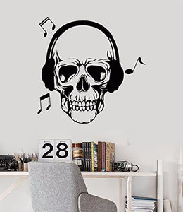 Vinyl Wall Decal Skull Love Song Music Headphones Stickers 680