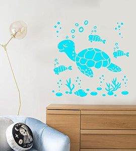 Vinyl Wall Decal Cartoon Sea Turtle Fish Ocean Water Bubbles Stickers 2098