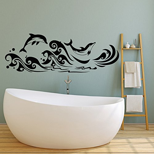 Vinyl Wall Decal Dolphins Sea Waves Marine Style for Bathroom Stickers 2284