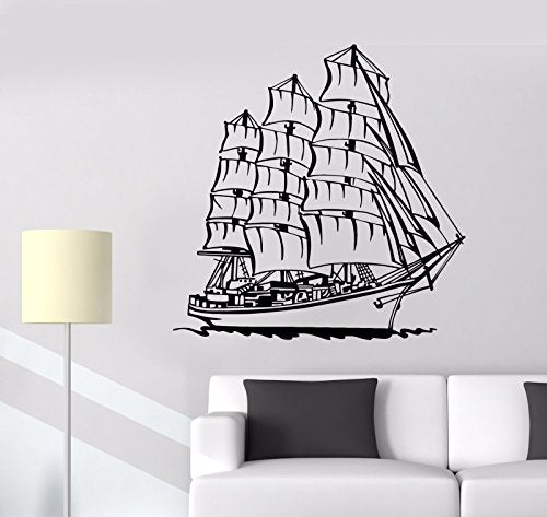 Vinyl Wall Decal Ship Boat Ocean Sea Nautical Sailor Sail Yacht Stickers 805