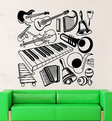 Wall Stickers Vinyl Decal Music Musical Instruments Guitar Piano Decor 1831
