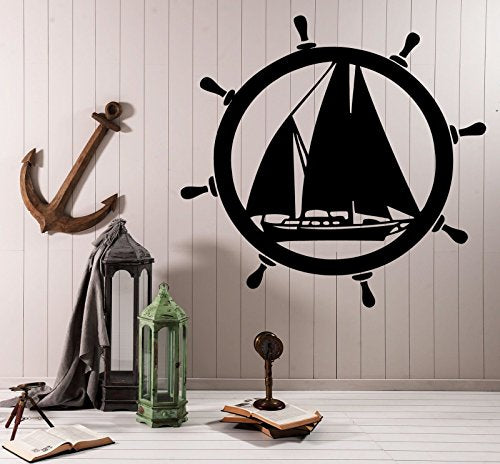 Vinyl Decal Wall Sticker Decor Elements of Sea Ship Steering Wheel 614