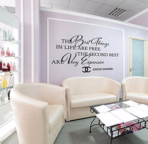 Large Wall Decal Quote The Best Things in Life are Free Coco Chanel 750