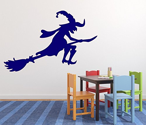 Vinyl Decal Cartoon Image Wicked Fairy Witch on Broom Wall Sticker n625