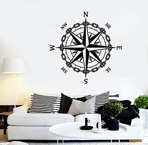 Vinyl Wall Decal Nautical Compass Sailor Ocean Sea Style Stickers 1984